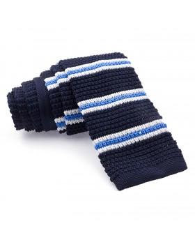 Corbata Punto Azul Rayas en Azul y Blanco