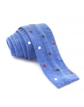 Corbata Lana Azul Lunares