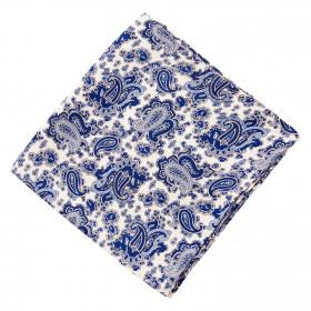Pañuelo Blanco Cachemires Azules