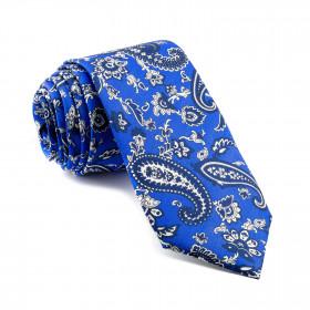 Corbata Azul Cachemir con estampados Marinos y Blancos