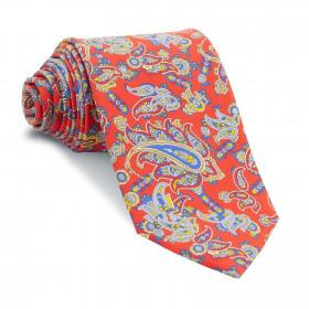 Corbata Roja Cachemires Azules y Amarillos