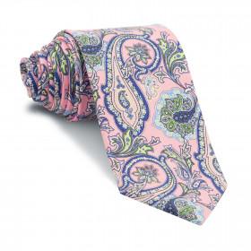Corbata Rosa Cachemires Azules
