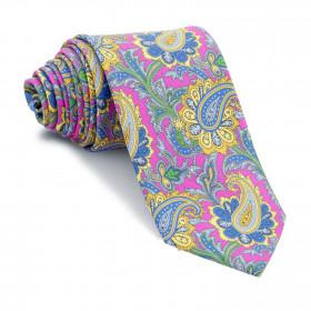 Corbata Fucsia Cachemires Azules y Amarillos