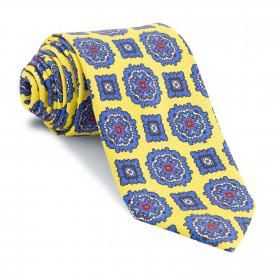 Corbata Amarilla Medallones Azules