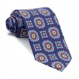 Corbata Marino Medallones Azules