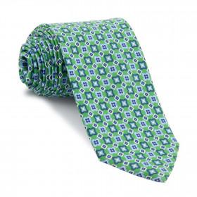 Corbata Verde Dibujos Azules