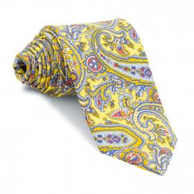 Corbata Amarilla Cachemires Azules y Rojos