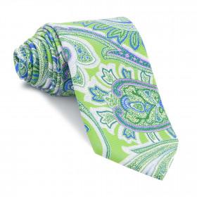 Corbata Verde Cachemires Azules y Rosas