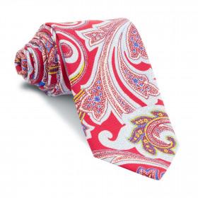 Corbata Roja Cachemires Celestes y Amarillos