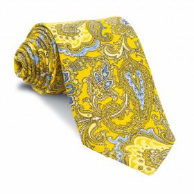 Corbata Amarilla Dorada Cachemires Azules y Amarillos