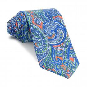 Corbata Coral Cachemires Azules y Verdes