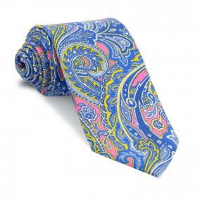 Corbata Rosa Cachemires Azules y Amarillos