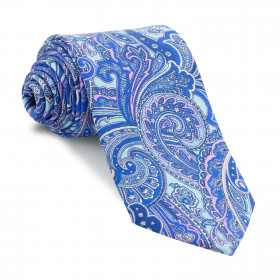 Corbata Turquesa Cachemires Azules y Rosas