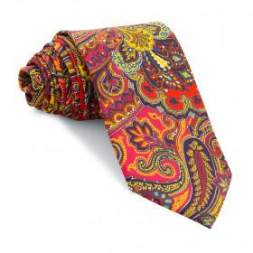 Corbata Fucsia Cachemires Rojos y Amarillos