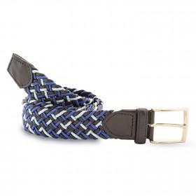 Cinturón Elástico Cuero Azul y Celeste