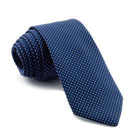 Corbata Azul Lunares Pequeños Blancos