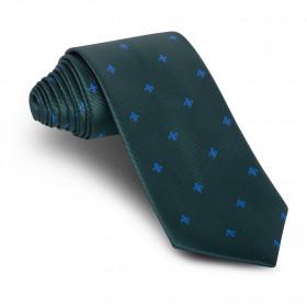 Corbata Verde Flor de Lis Azul