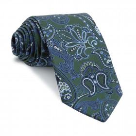 Corbata Verde Cachemires Azules