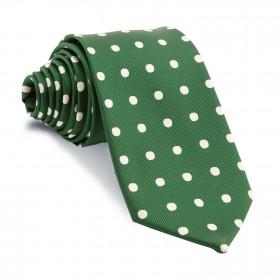 Corbata Verde Botella Lunares Blancos