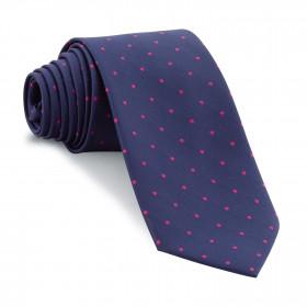 Corbata Marino Lunares Fucsia