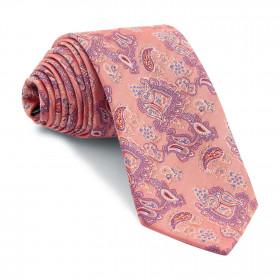 Corbata Rosa Claro Cachemires Azules