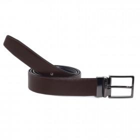 Cinturón Piel Reversible Marrón Oscuro para hombre