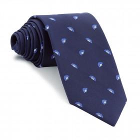 Corbata Marino Dibujos Abanicos Azules