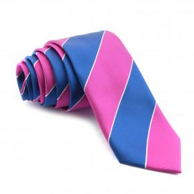 Corbata Rayas Anchas Azules y Rosas