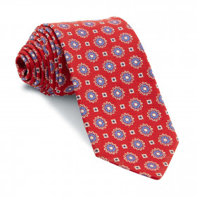 Corbata Roja Medallones Azules