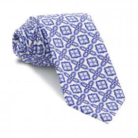 Corbata Blanca Medallones Azules