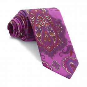 Corbata Buganvilla Cachemires Fucsia y Rojo