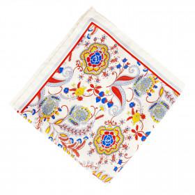 Pañuelo Blanco Flores Azul y Rojo
