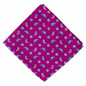 Pañuelo Fucsia Cachemires Azules