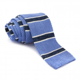 Corbata Punto Azul Rayas en Marino y Blanco